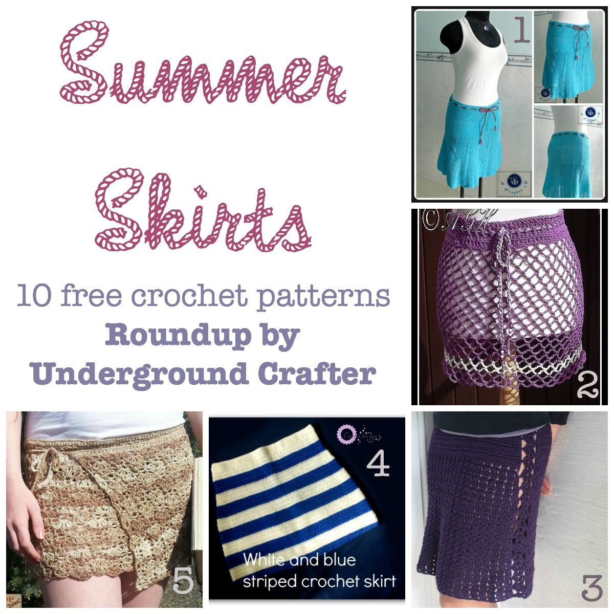 Roundup: 10 free crochet patterns for summer skirts   Falda, De todo ...
