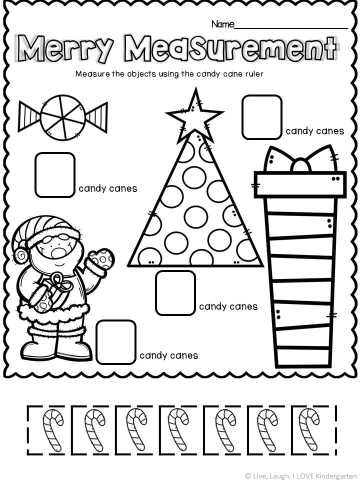 Practice measuring with this Christmas themed kindergarten