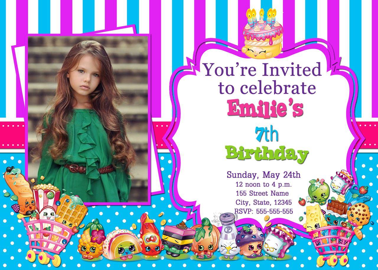 Shopkins Birthday Invitation with Photo - Printable (5x7) | Shopkins