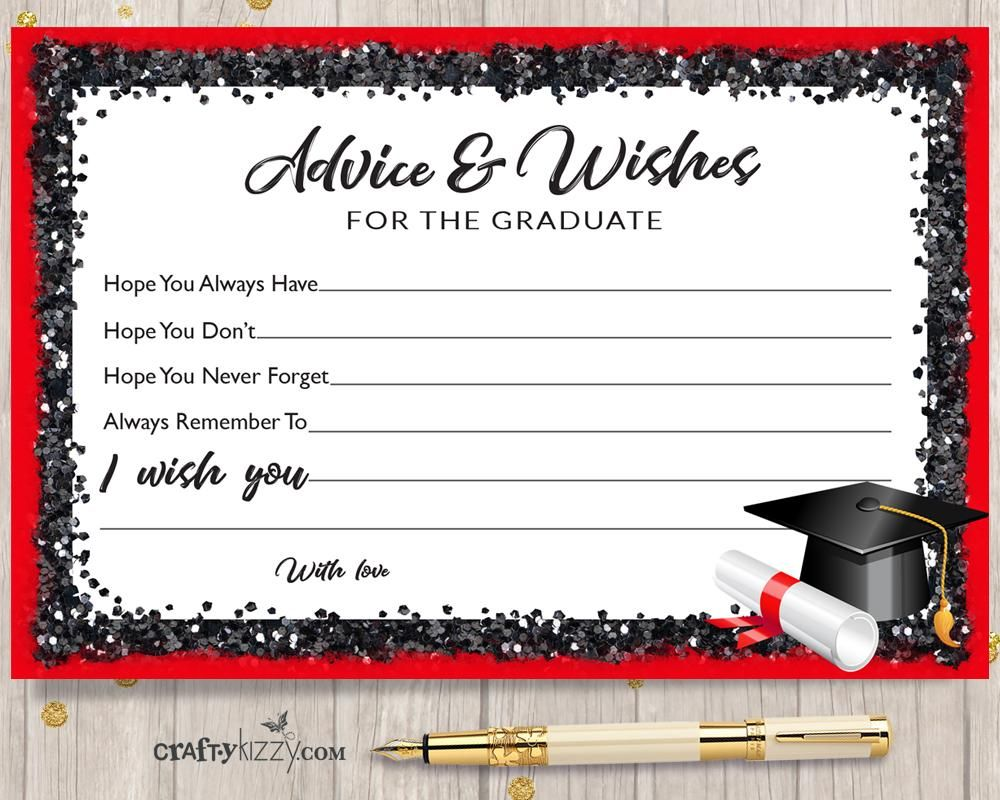 Black and red graduation advice cards for the graduate diy high black and red graduation advice cards for the graduate diy high school or college party favor instant download filmwisefo Choice Image