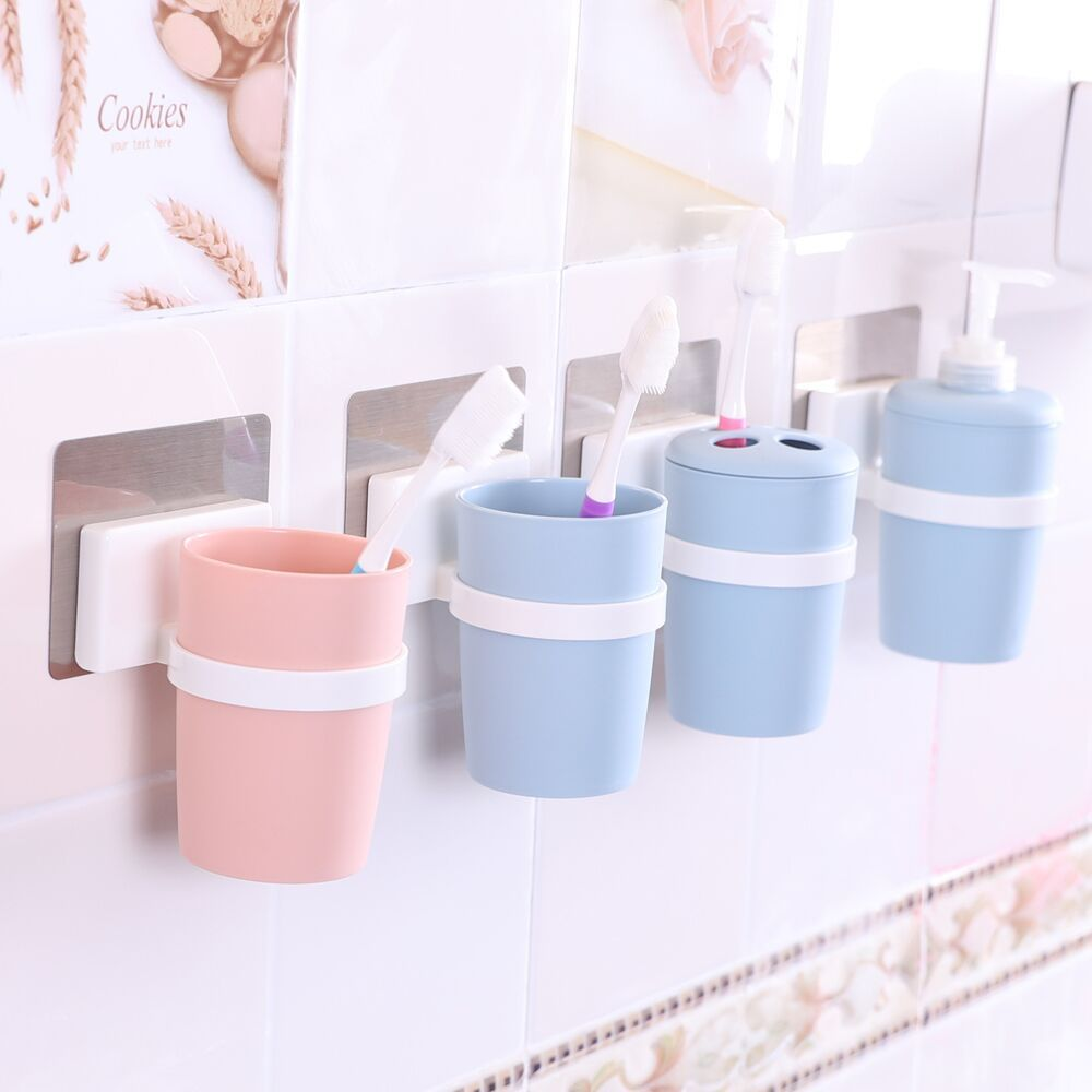 Wall Mounted Multicolor Suction Toothbrush Holder Toothbrush Cup