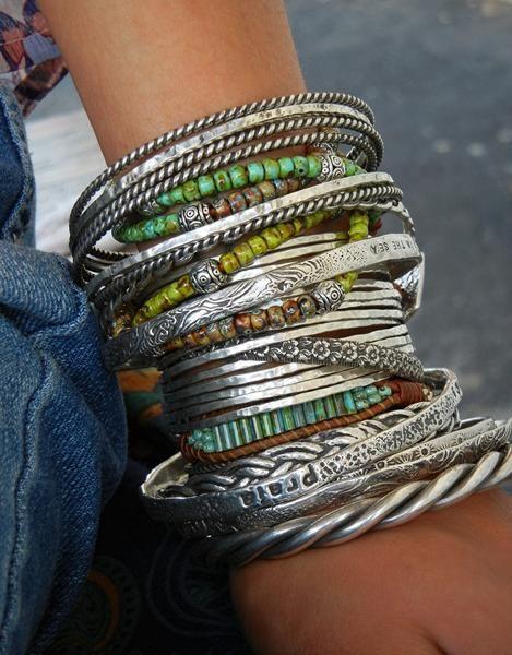 Fashion Boho Women 925 Silver Plated Hoops Carved Bangle Cuff Bracelet Jewelry