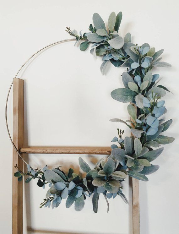 Photo of Modern Wreath, Hoop Wreath, Lambs Ear Wreath, Eucalyptus Wreath, Minimalist Deco …