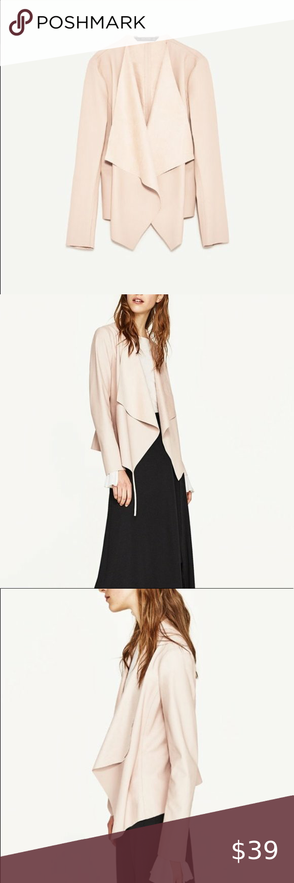 Zara Blush Pink Faux Leather Jacket in 2020 Faux leather