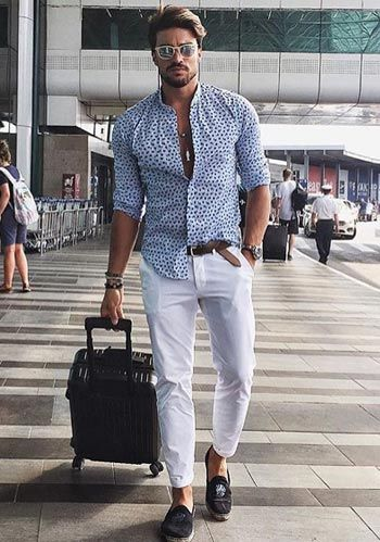 【夏】ペイズリー柄シャツ×白デニムの着こなし(メンズ)   Italy Web