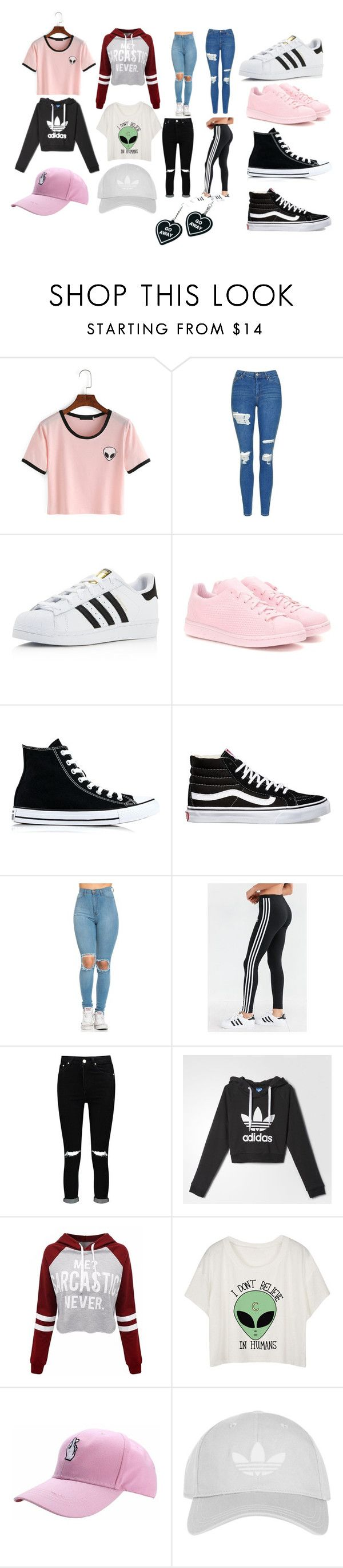 """""""High School Outfits"""" by kpoptrash2233 on Polyvore featuring Topshop, adidas, adidas Originals, Converse, Vans, Boohoo and Witch Worldwide"""