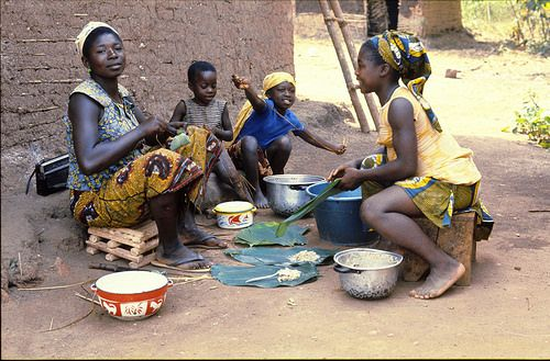 """#Mother and daughters working together, parcelling """"ndzwo"""" in cocoyam leaves, Ngambé #Cameroon #traditions"""
