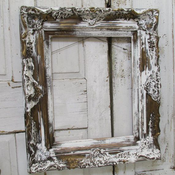 Large ornate frame hand painted and distressed white over bronze brown French chic cottage design wall home decor anita spero