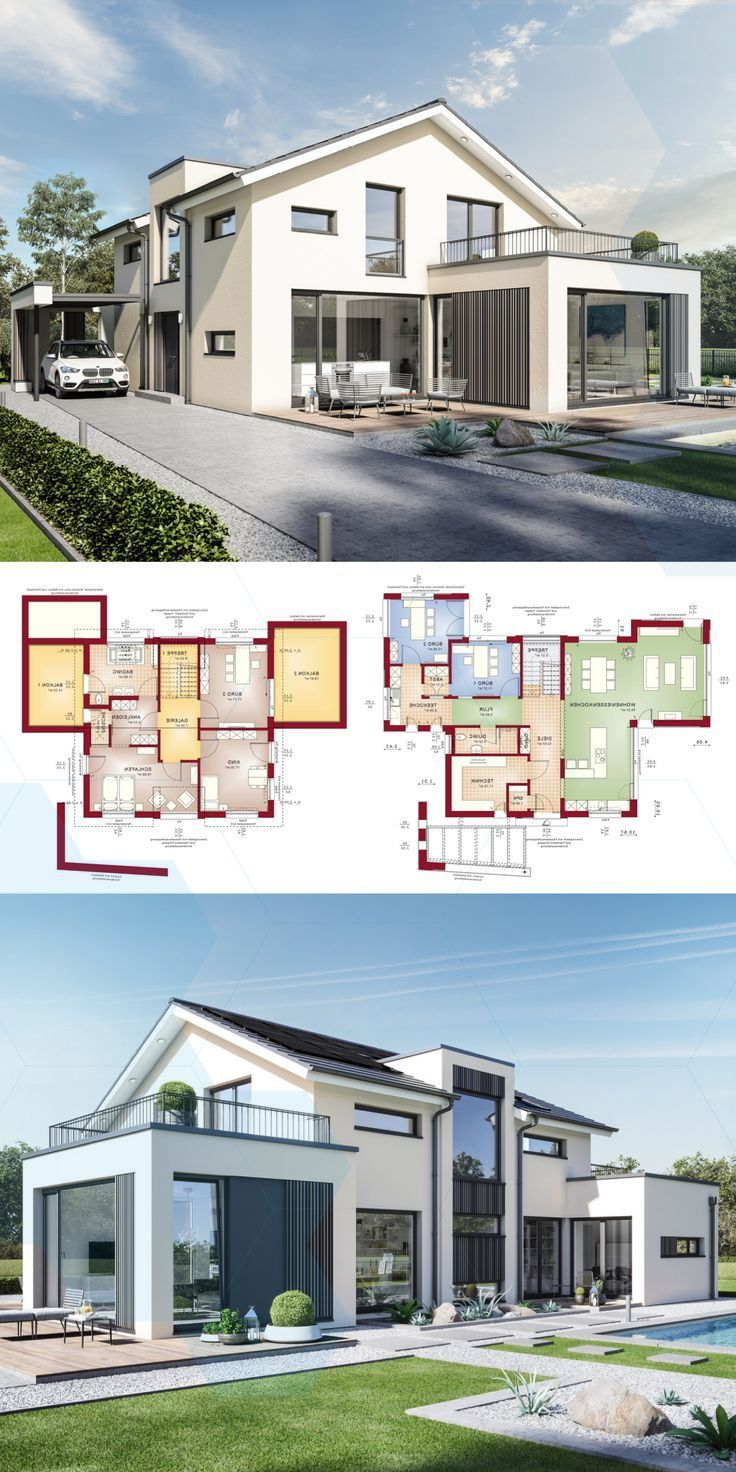 Detached House Architecture Modern With Pitched Roof Office Extension Gallery Fer Architecture House Gable House Modern Architecture