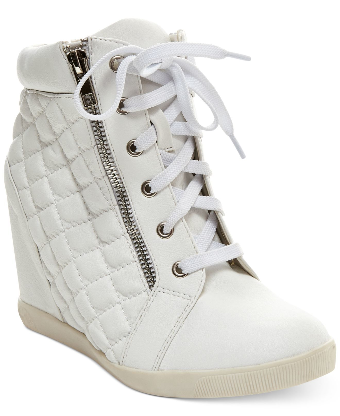 10e0338725c Madden girl Baaxter Quilted High Top Wedge Sneakers in White
