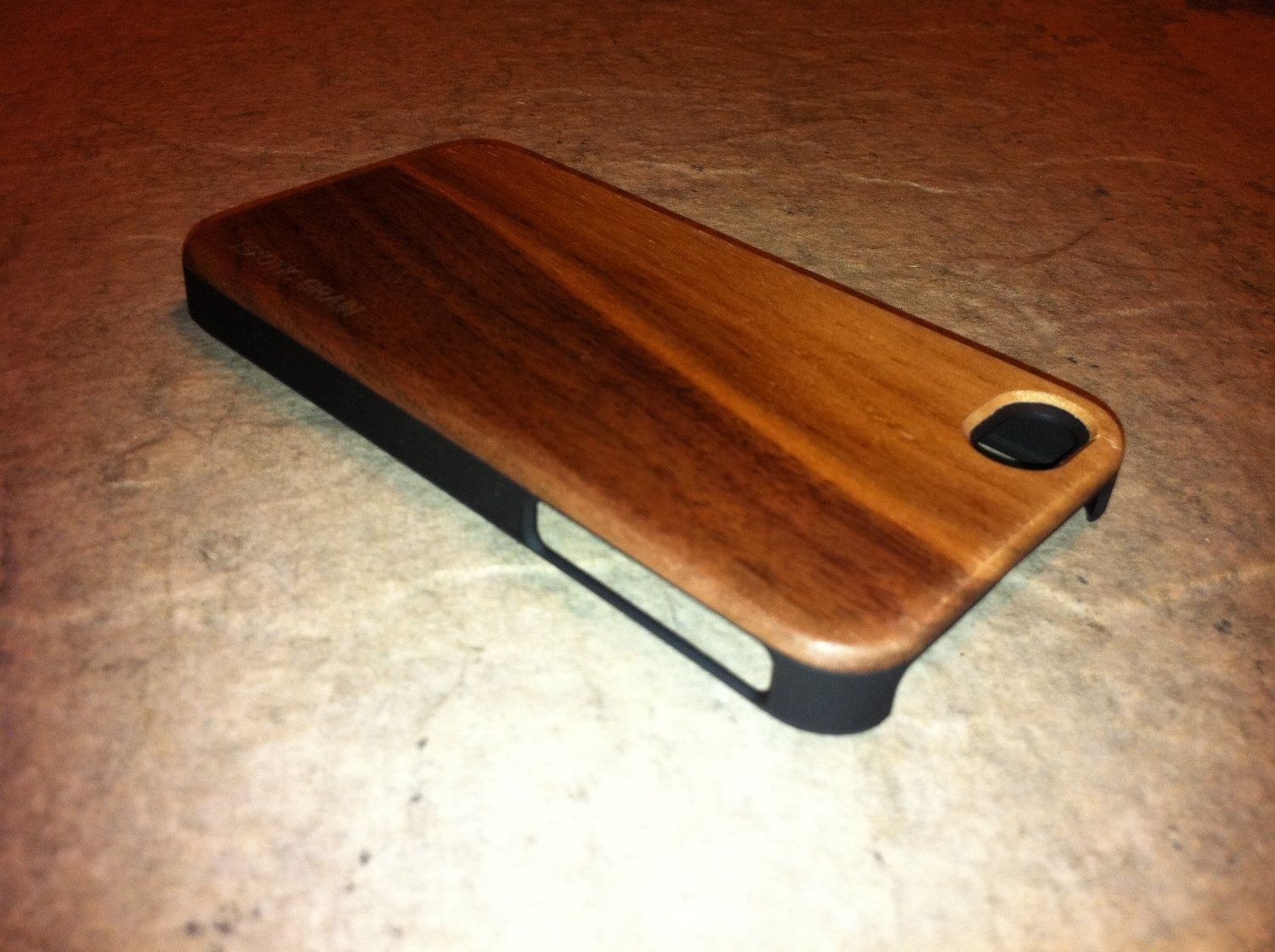 IPHONE 4 and 4s CASE , real wood rich polished light  walnut   back ,sharp looking black edge