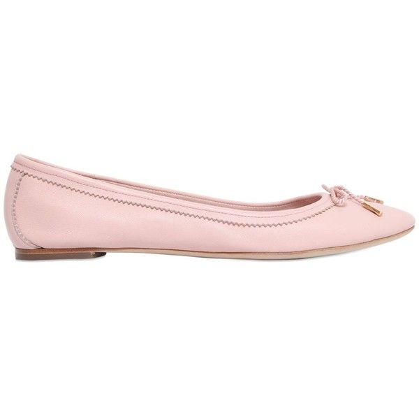 Salvatore Ferragamo Women Enea Leather Ballerina Flats ($390) ❤ liked on  Polyvore featuring shoes, flats, light pink, ballerina flats, leather flat…