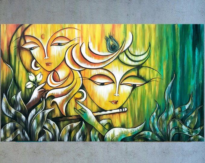 Krishna Painting Modern Indian Art Radha Krishna Asian Art Etsy Radha Krishna Modern Art Krishna Painting Modern Indian Art