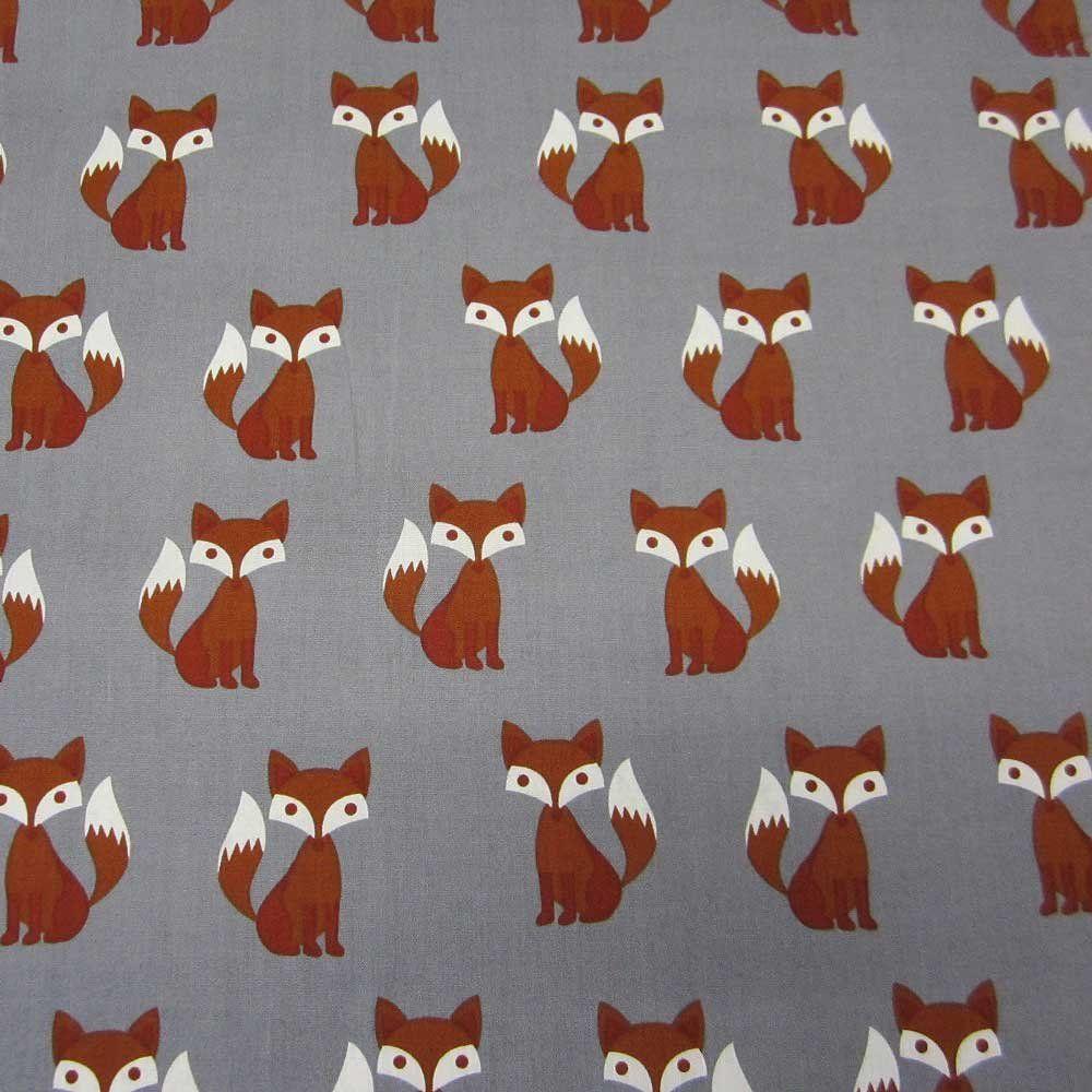 Stoff Baumwollstoff Baumwolle Fuchs grau braun weiß Meterware: Amazon.de: Küche & Haushalt