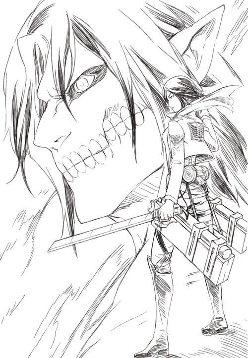 Mikasa And Rogue Titan Eren Shingeki No Kyojin Desenhos De