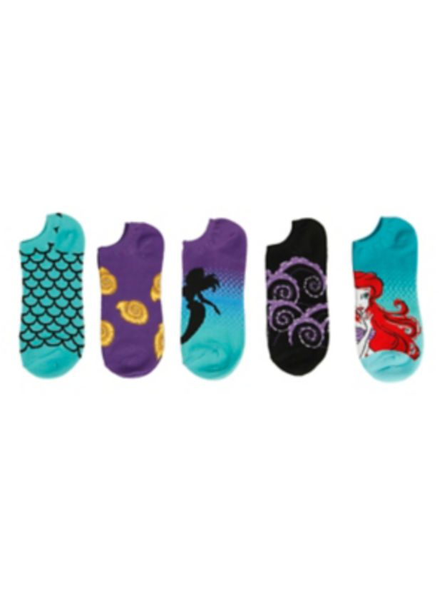 Disney The Little Mermaid Ariel No-Show Socks 5 Pair