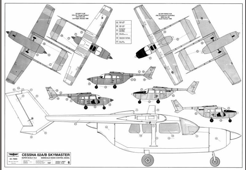 Cessna Skymaster Twin. 6 pages Giant Scale RC AIrplane PDF Plans on ...