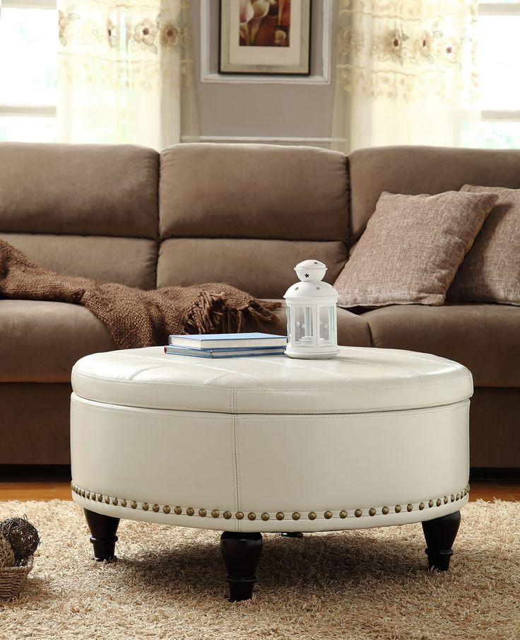 Desk And Table White Leather Round Storage Ottoman Coffee Table