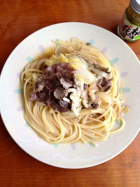 頂き物の美味しいしめじ、完食しました(^-^) - 4件のもぐもぐ - 牛肉しめじ白菜の醤油麹パスタ by coocoo8