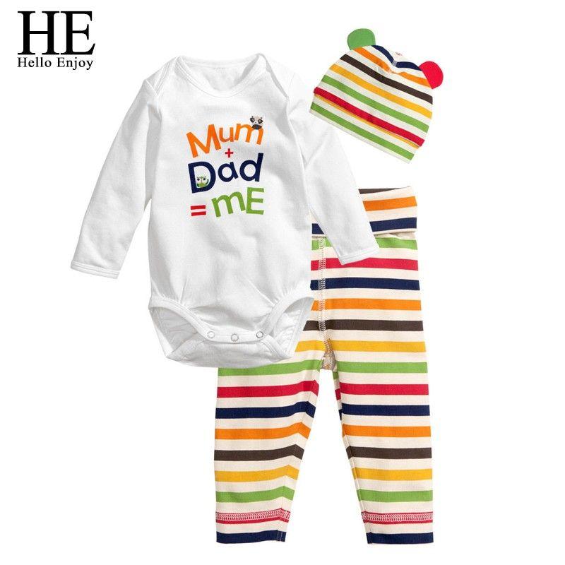 EGLI Ciao Godere Baby pagliaccetti manica lunga infantile del bambino del cotone autunno Animale vestiti neonato romper + hat + pants 3 pz abbigliamento set