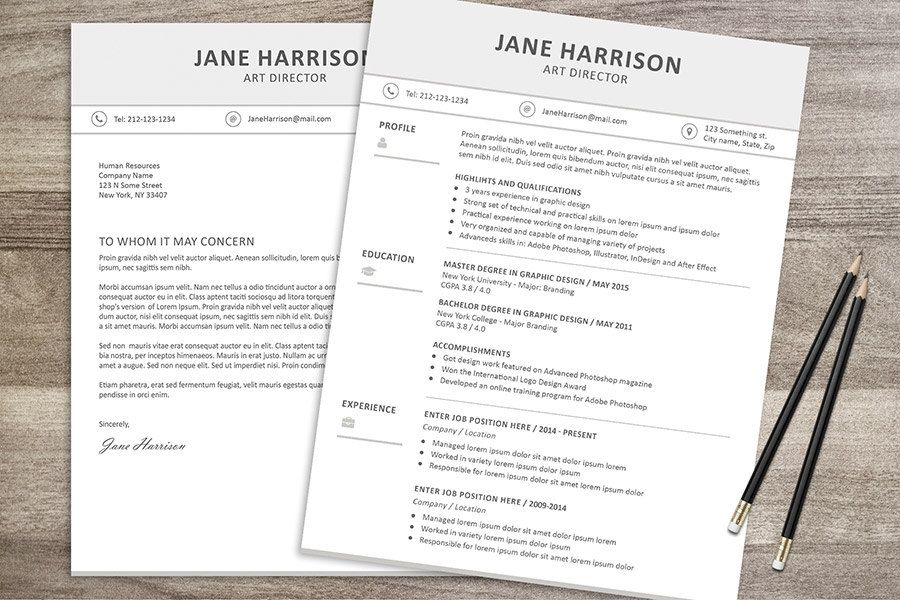 Resume Template + Cover Letter | Resume template word ...