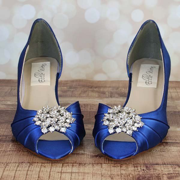 Ellie Wren Royal Blue Kitten Heel Peep Toe Wedding Shoes With Classic Cluster