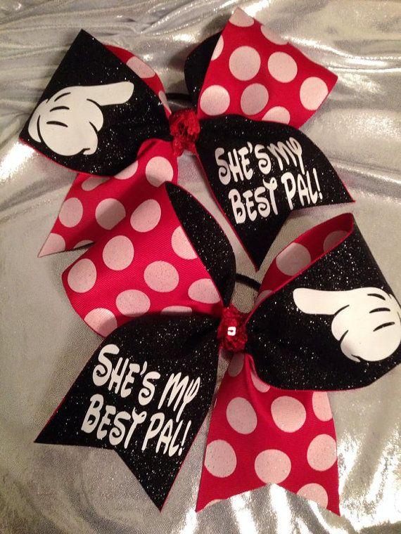 Best friend cheer bows disney inspired set cheerleading cute cheer bows disney cheer bows - Cute cheer bows ...
