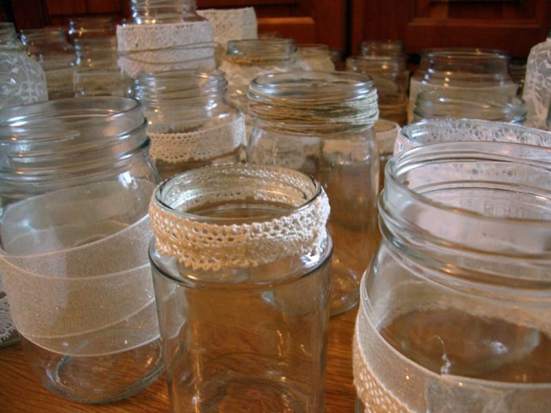 Decorate A Jar Decorated Jars 51  Tying The Knot  Pinterest  Weddings And Wedding