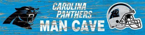 Carolina Panthers Man Cave Plaque 6 x 24 Wooden Wall Sign