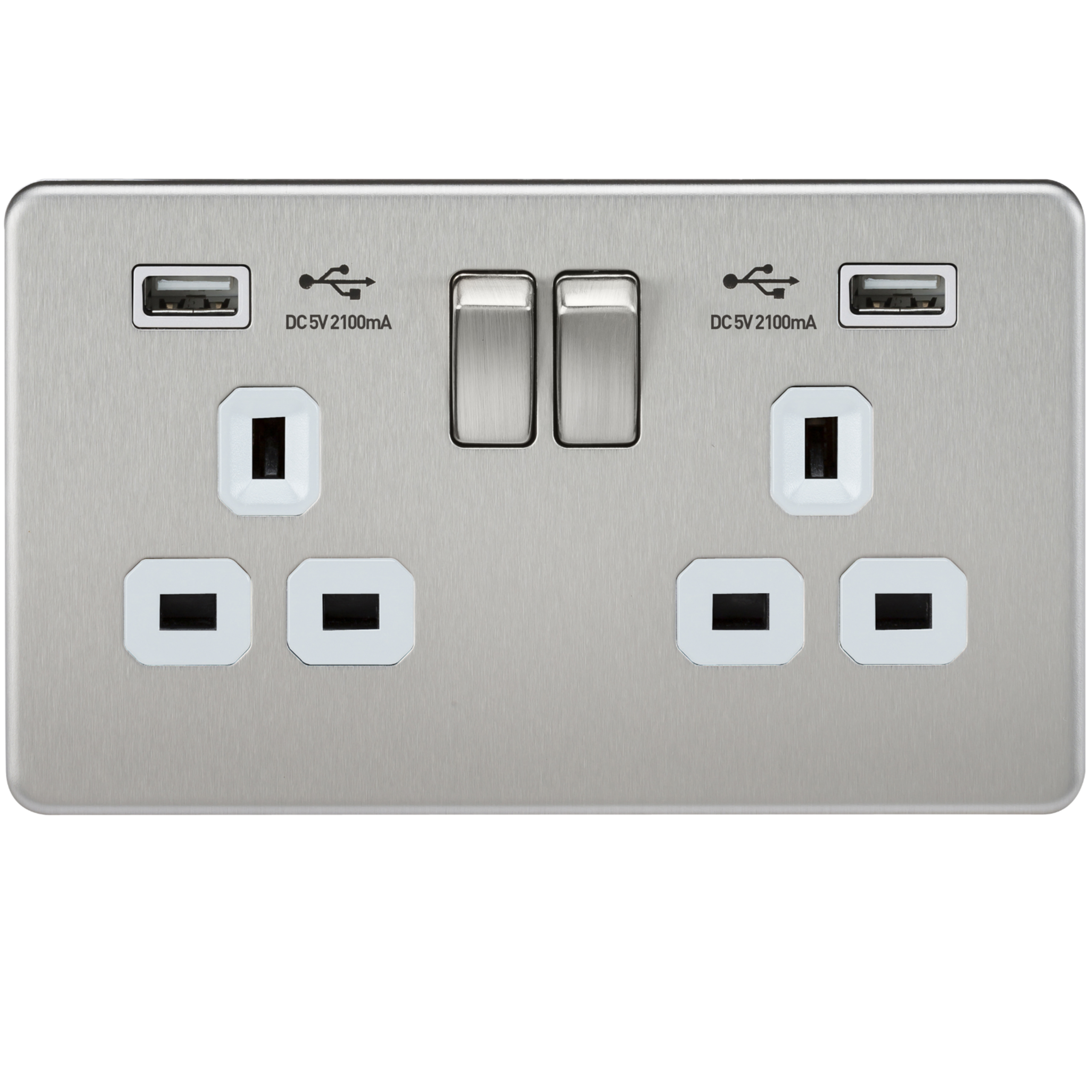 Brushed Chrome Double Gang, Dual USB Charger Socket | Office ...