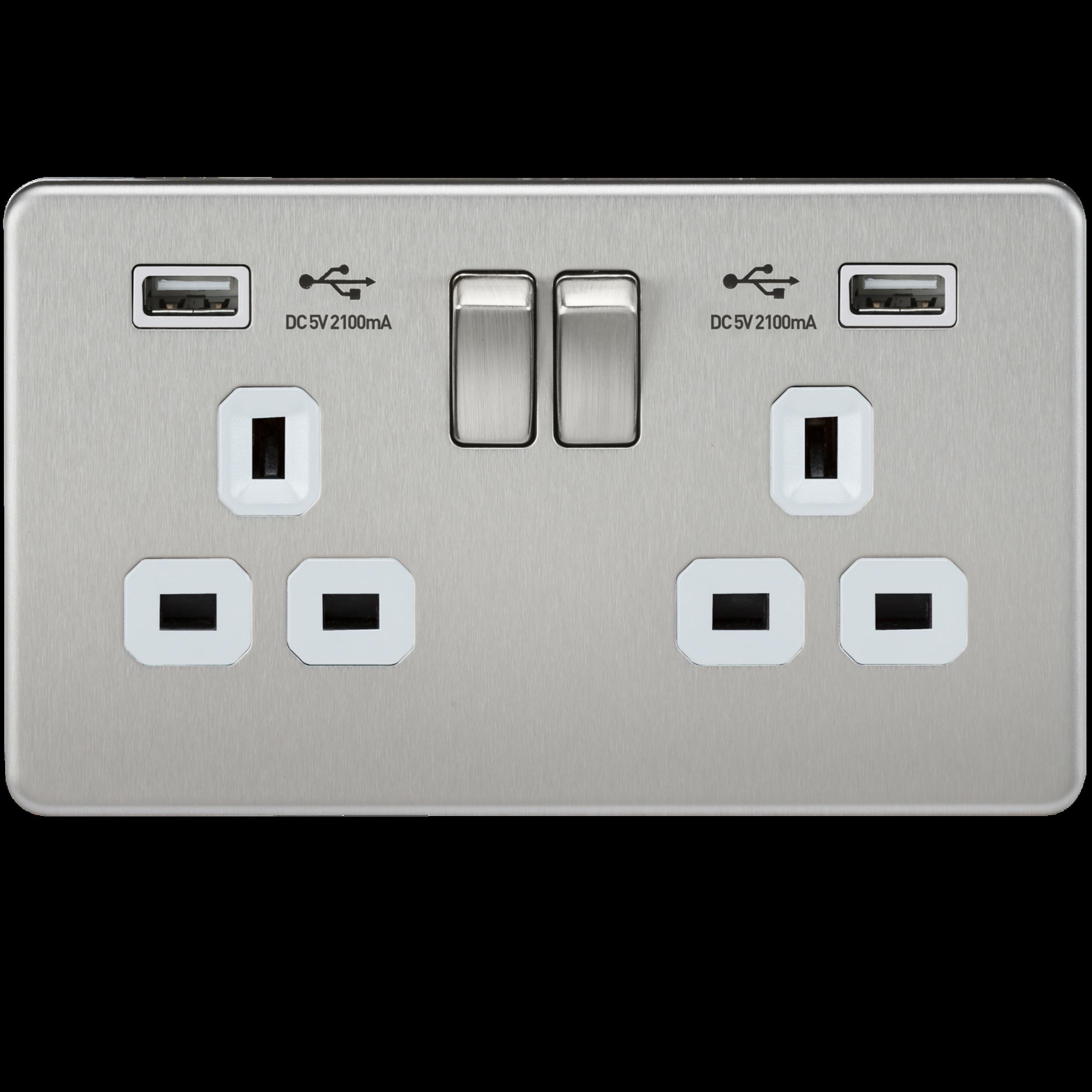 Knightsbridge 13A 2G Screwless Socket with Dual USB Charger Black Nickel