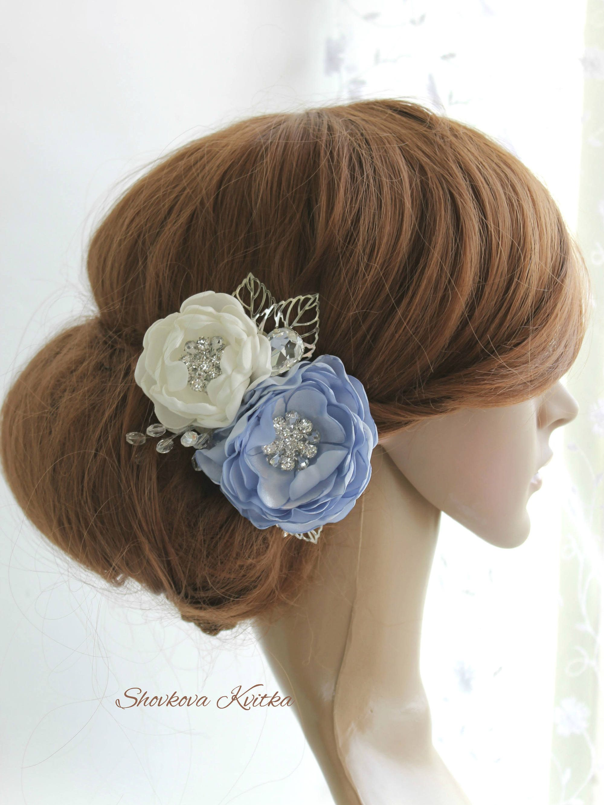 light blue wedding hair piece, sky blue bridal floral hair