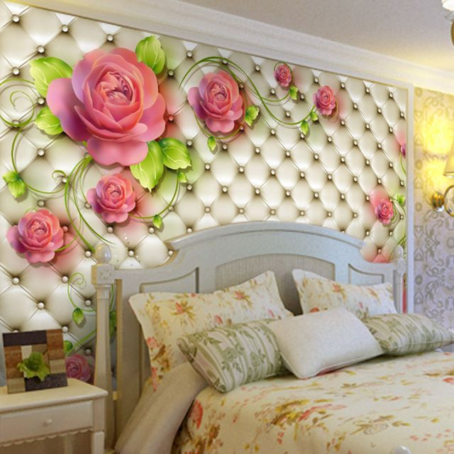 Romantic Rose Photo Wallpaper 3d Flowers Wall Mural Custom Elegant Wallpaper Love Murals Kid Weddin Wallpaper Walls Bedroom Wall Art Decor Bedroom Wall Designs