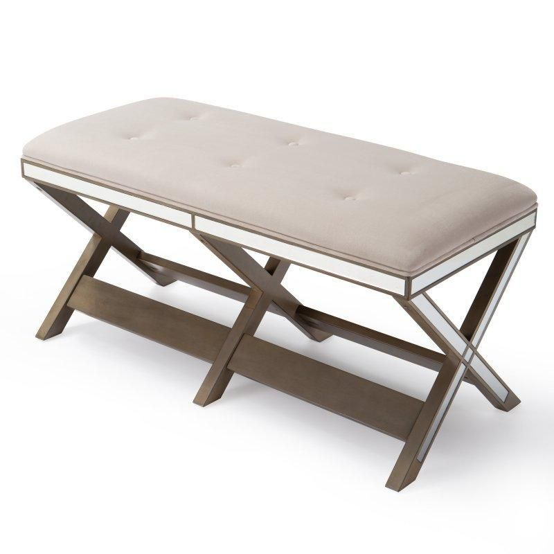 Belham Living Glam Upholstered Bench With Mirrored Frame   Bedroom Benches  At Hayneedle