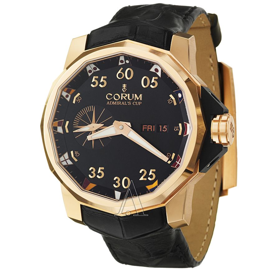 Corum  Men's Admiral's Cup Competition 48 Rose Gold Case with Black Alligator Band Watch947-941-55-0081-AN52 Watch   Ashford.com