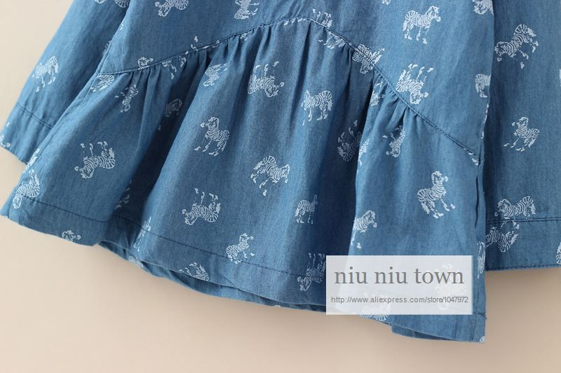00036 TJ-6J2538 Free shipping 5 pcs/lot Wholesale Pony big skirt denim blouse for girls aged 2-6 Qunshan http://www.aliexpress.com/store/1047972