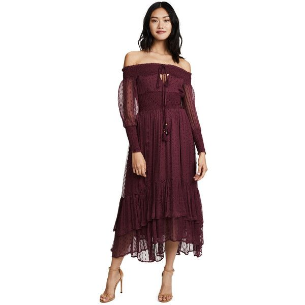 25d858a64016 RahiCali Juliet Smocked Maxi Dress ($195) ❤ liked on Polyvore featuring  dresses, mulberry, smock dress, purple maxi dress, smocked dresses, purple  off the ...