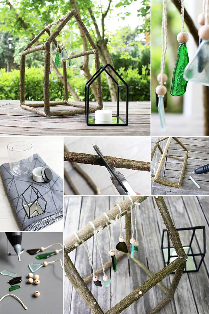Gingered Things, wind chimes, wood, glas, decoration, garden, DIY
