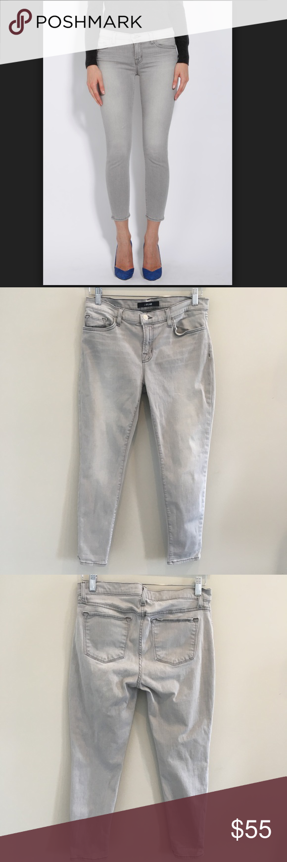 J  Brand Gray Wash Skinny Jeans SIZE 30 MEASUREMENTS Overall