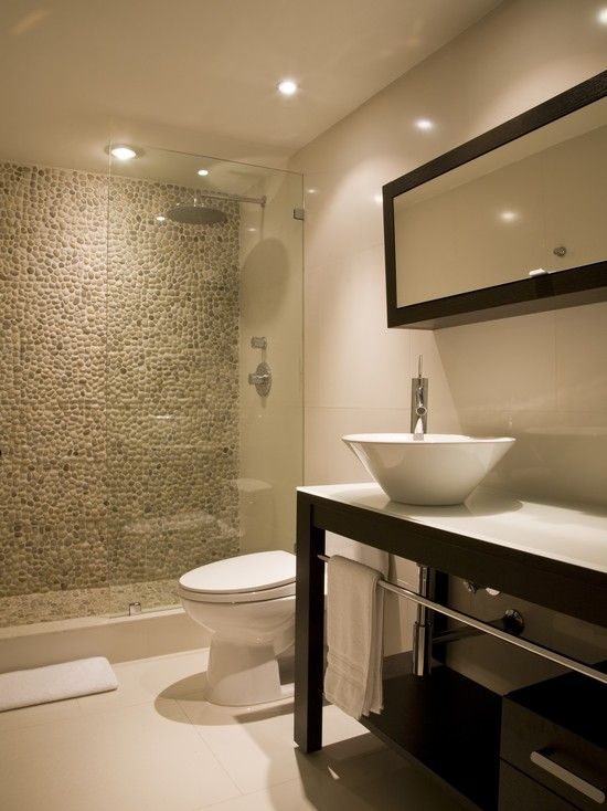 Spaces Shower With Pebble Tiles Design, Pictures, Remodel, Decor