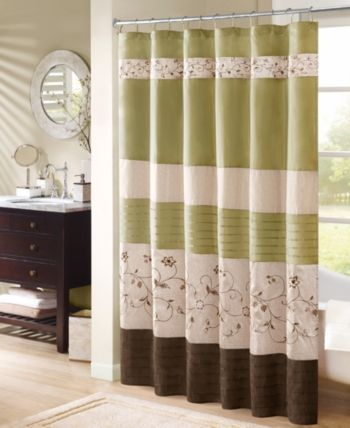 Madison Home Usa Serene 72 X 72 Faux Silk Embroidered Floral Shower Curtain Bedding Floral Shower Curtains Fabric Shower Curtains Curtains