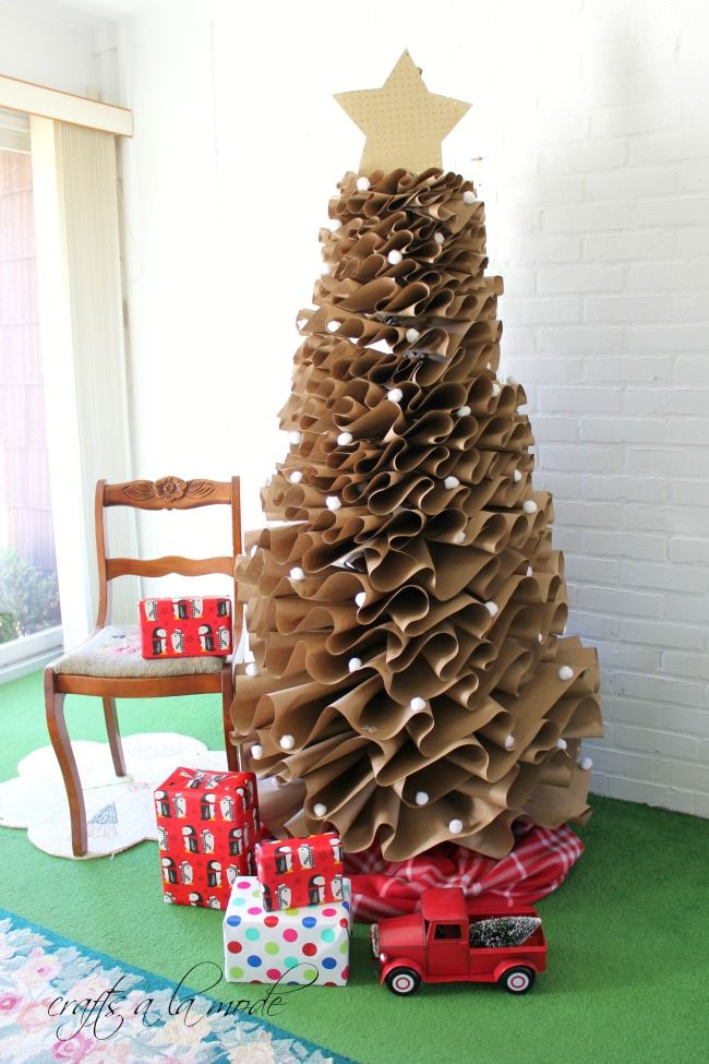 Paper Christmas Tree.How To Make A Full Size Brown Paper Christmas Tree Crafts