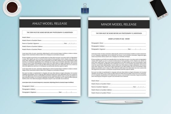 Photography Model Release Forms Adult and Minor by TemplateStock - release forms