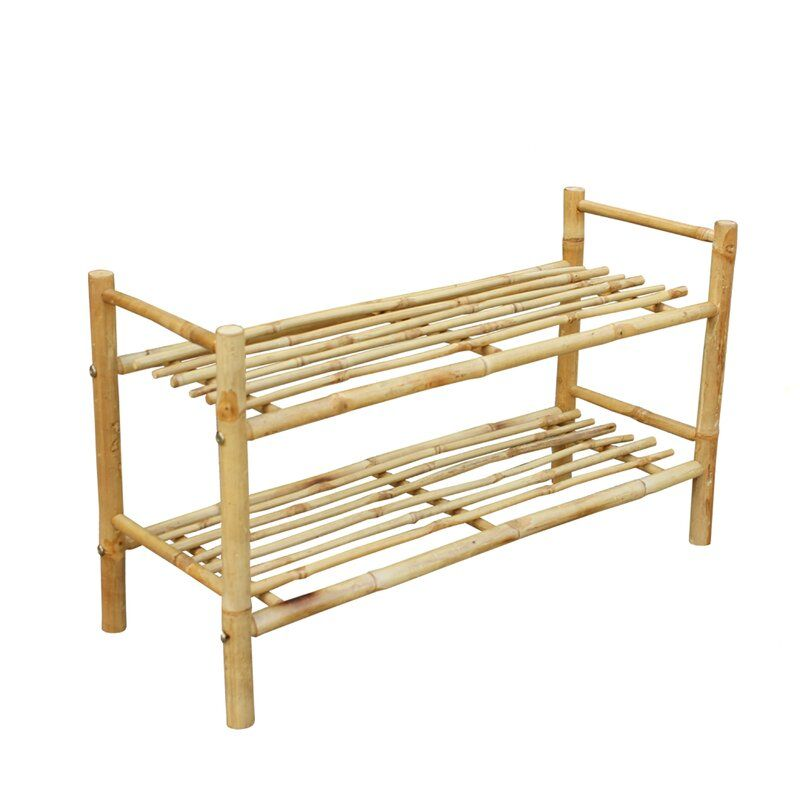 Hand Crafted 2 Tier Shoe Rack In 2020 Bamboo Shoe Rack Bamboo Decor Bamboo Diy