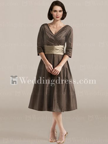 Spring V Neck Mother Of The Groom Dresses With Sleeves MO102