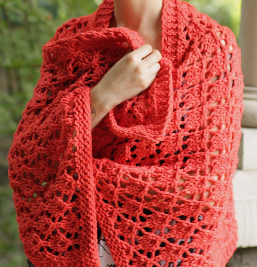 Free Knitting Pattern for High Fructose Shawl -Lace shawl in bulky ...