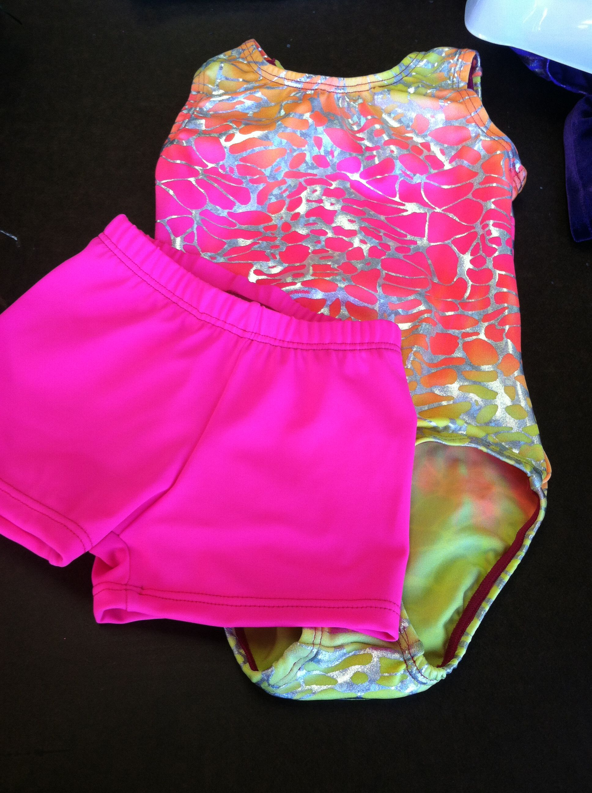 7bf1e6e32351 crackle pink yellow orange leotard with hot pink shorts. visit our ...