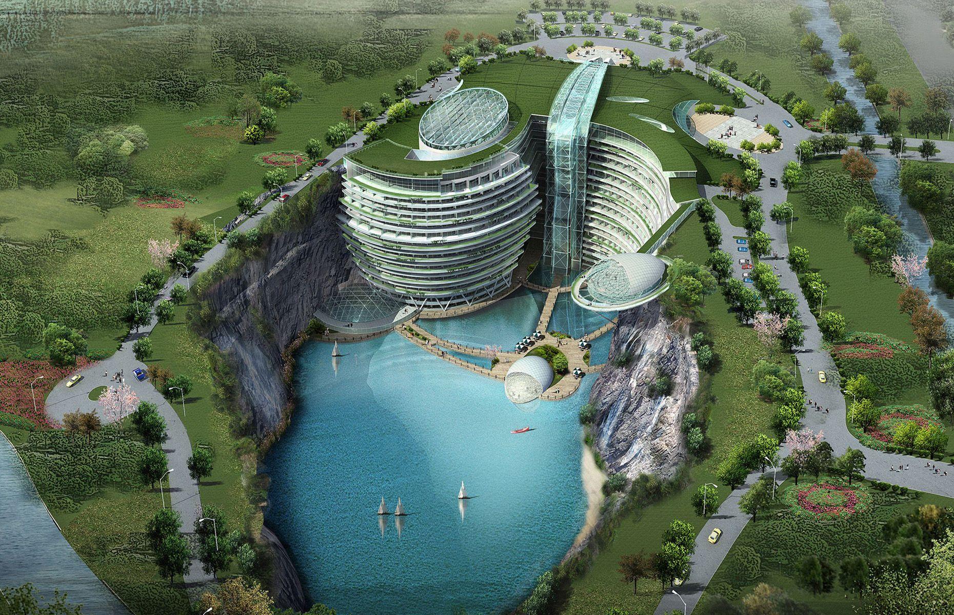 Das Songjiang Shimao Hotel  Es befindet sich noch im Bau, doch wenn dieses einzigartige Gebäude fertig gestellt ist, wird es das erste Hotel in einem 100 Meter tief abfallenden Steinbruch sein, mit eigenem See und Strand. Die Kosten sollen sich auf rund 523 Millionen US-Dollar belaufen. Neben herkömmlichen Annehmlichkeiten wird das Hotel auch Wasserfälle, Unterwasser-Zimmer und Abenteuer-Sportmöglichkeiten im Angebot haben.