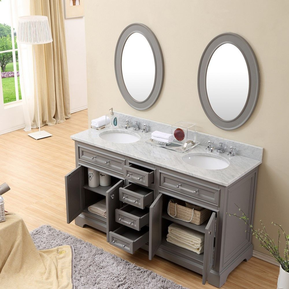 derby 60 cashmere grey double sink bathroom vanity with matching framed mirrors bathroom. Black Bedroom Furniture Sets. Home Design Ideas