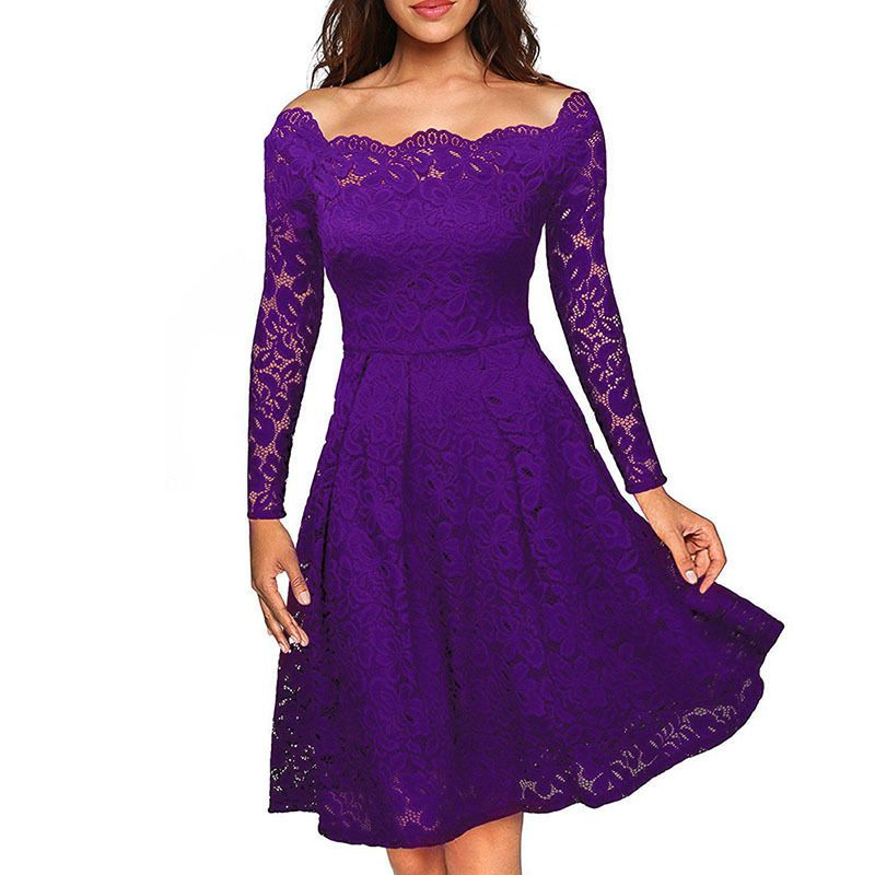 UK Women Floral Lace Long Sleeve Cocktail Prom Gown Party Evening ...